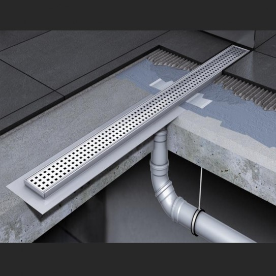 Душевой канал C - с фланцем и прямым выпуском 885 мм