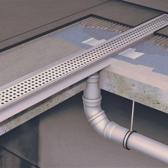 Душевой канал C - с фланцем и прямым выпуском 585 мм